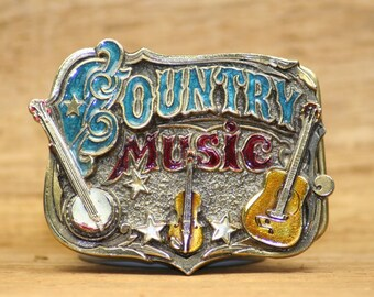 Country Music Vintage Enamel Belt Buckle, Teal and Red