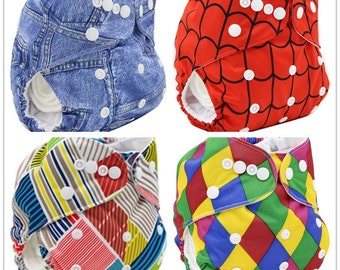 Washable  Print Reusable Cloth Nappy With 2 FREE Inners