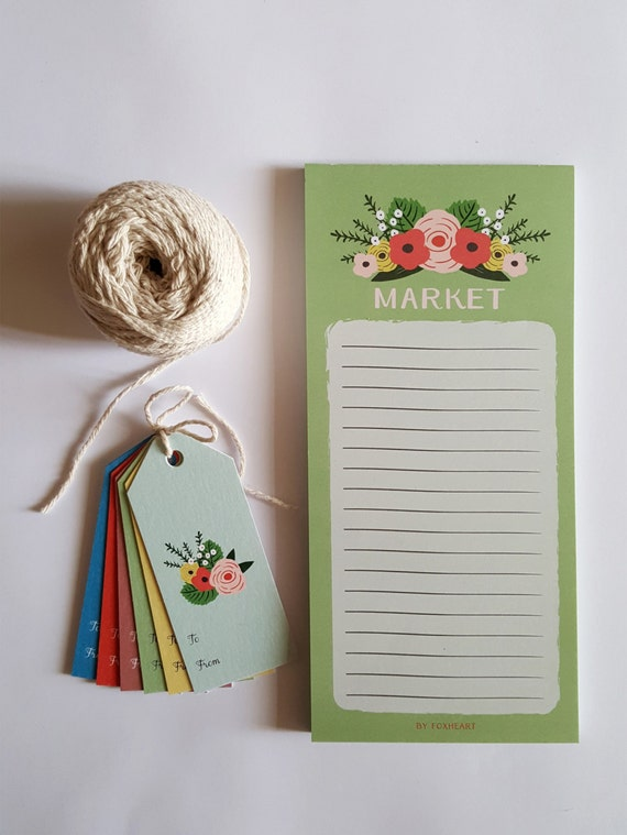 Vintage Green Floral Shopping List Pad, Market List pad, 50 pages, Organiser