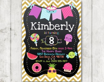 Printable Girl's Birthday Party Invitation, Summer Sweets Party Invitation, Donuts Cake Candy Ice Cream Chalkboard Birthday Party Invites