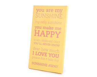 Large Wall Art Panels - You Are My Sunshine