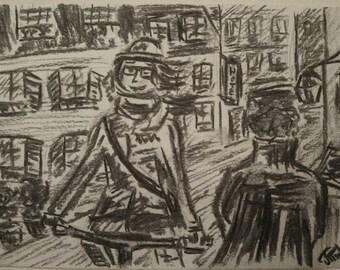 Cycling through Paris, charcoal, 14.8 x 21 cm