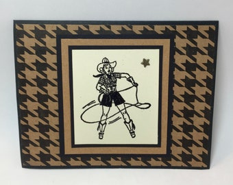 Cowgirl Birthday Card, Rodeo, Western, Handmade