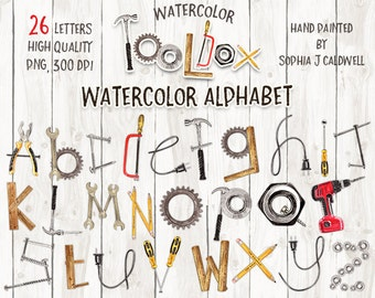 Alphabet Clipart Watercolor, Tool Clipart, Name Letters, Woodworking, Printable Alphabet, Scrapbook Letters, Kids Boy Girl, Him Dad Father