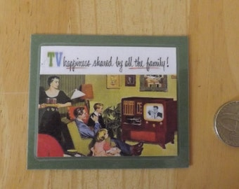 Fridge Magnet. 1950's family watching television.