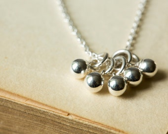 Sterling Silver Ball Necklace - Silver Bauble Necklace - Cluster Pendant