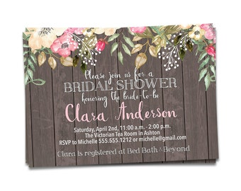 Bridal Shower Invites, Rustic Wedding, DIY Bridal Shower Invitation, Rustic Bridal Shower Invite, Rustic Wedding, Rustic Wedding Shower