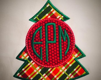 Monogrammed Applique Christmas Tree Shirt