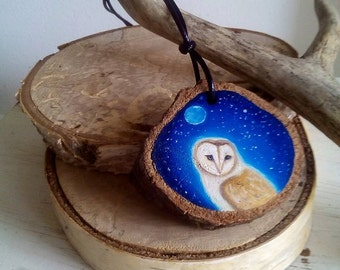 barn owl pendant original oil painted
