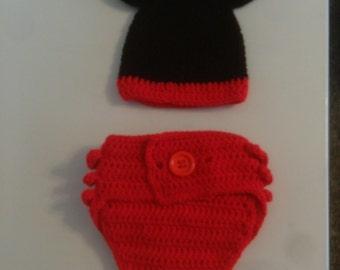 red minnie diaper cover set