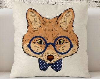 """Hipster Fox Pillow,  Preppy Pillow, Dorm decor Pillow 18"""" x 18"""",  Geek  Pillow, Nerd Pillow, gift for students, Hand drawn Pillow"""