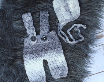 Baby Boy Romper and Bonnet Set - Grey Suspenders and Bonnet Set- Baby Boy Photo Prop - Newborn Boy Suspenders Outfit - Newborn Boy Romper
