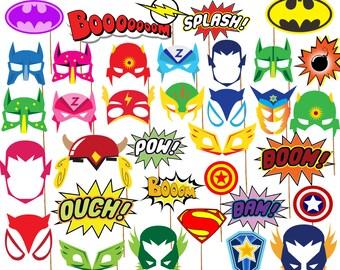 "Superhero Birthday Photo Booth Props: ""SUPERHERO PARTY PROPS"" Printable Superhero party Superhero Masks superhero supplies Photobooth props"