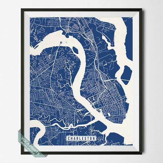 Charleston print south carolina poster charleston map for T shirt printing charleston sc
