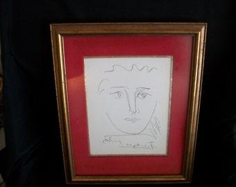 "Picasso ""Pour Roby"" original etching framed"