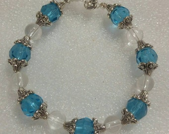 Brilliant Blue and Antique Silver Beaded Bracelet