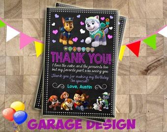 Thank you Card, Paw Patrol Thank You Card, Paw Patrol Birthday Thank You Card,