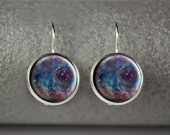 Galaxy earrings, space earrings, nebula earrings, galaxy jewelry