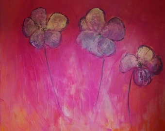 """large painting-""""pink flowers"""""""