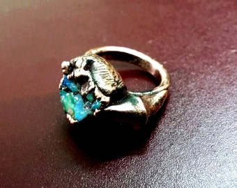 Natural Raw Opal Ring Electro Formed copper oxodiesed