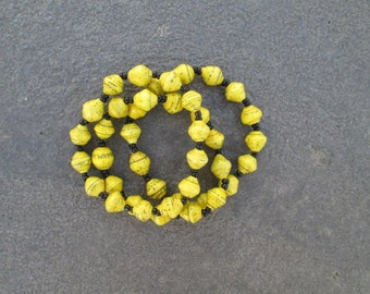3 set Recycled Paper Yellow Bracelets