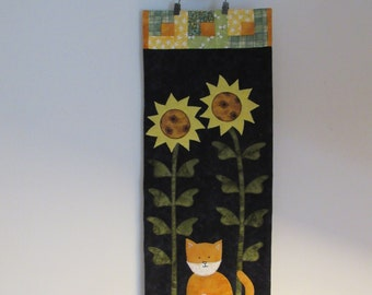 Kitty cat with sunflowers quilted wall hanging