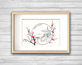 Affiche In the MOOD for JAPAN - Poster Trait Fleur Paysage Japon Zen Noir - affiche deco, impression d'art, Art mural, illustration tendance