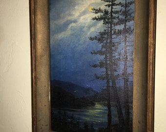 George Eastman Cook Antique Landscape Painting on Canvas Listed Artist