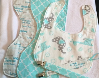 Handmade Baby Gift Set - Bib, Two Burp Cloths, Two Pacifier Clips