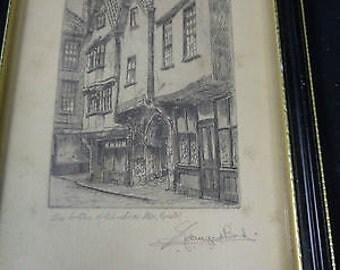 John Edward Bird Etchings Framed x4 - Scenes in Bristol - 1900 - 1949