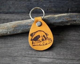 Baby Raccoon- genuine leather keychain