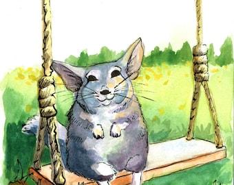 Watercolor Chinchilla on a Swing 8x10 Print