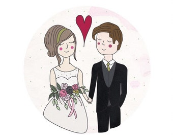 Wedding Illustration // Custom Wedding Illustration, Wedding Portrait, Custom Portrait, Wedding Invitation