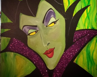 Disney  Inspired Villain Evil Queen Maleficent 11 x 17 Original Acrylic Painting on Canvas