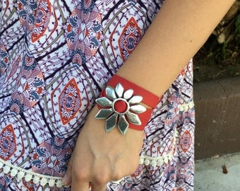 Leather Wrap Bracelet with Silver Daisy Medallion
