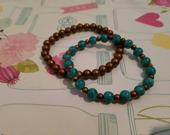 Aqua & Copper Stretch Bracelet Set: Copper, Bronze, Aqua Glass Beads, Metal Beads, Edgy