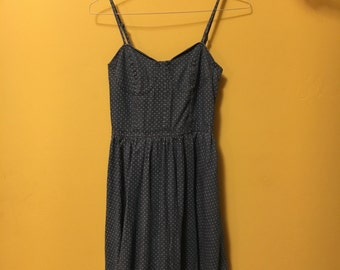 Denim polka dot dress