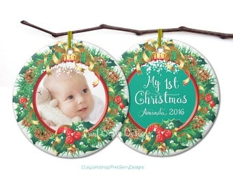 Babys first Christmas ornament Personalized Christmas ornament Christmas photo ornament Photo Christmas ornament