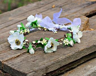 White crown flower bride baby wreath newborn headband newborn headpiece baby shower Flowergirl bridesmaids bridal ivory