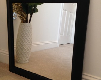 Black Obeche wood frame mirror 500 x 500.
