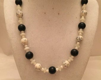 Milk Glass Necklace/Beaded Necklace