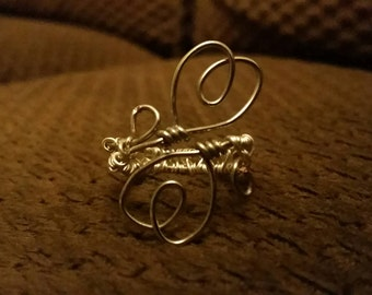 Adjustable Double Heart Wire Wrapped Ring