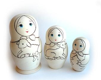 Blank Unpainted Matryoshka Nesting Russian Wooden Doll 3-piece
