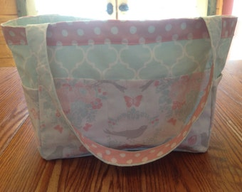 Birds and flowers sewing tote