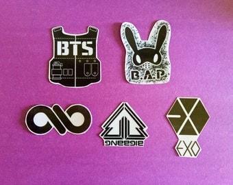BigBang, EXO, B.A.P, BTS, Infinite K Pop band clear stickers!