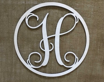 "12"" or 18"" Circle Vine Monogram 1/8"" Baltic Birch Custom Single Wood Letter Hanging Wall Plaque Baby Shower Wedding Gift"