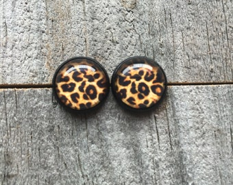 Leopard Print Studs• Animal Print Earrings• Cabochon Studs