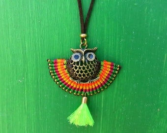 OWL necklace OWL pendant necklace fashion tendence artisan made hand