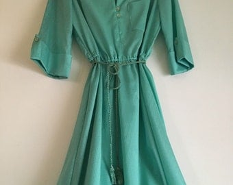 SALE 70's Seafoam Green Dress with Rope Belt