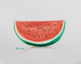 Watercolor print by me made, watermelon